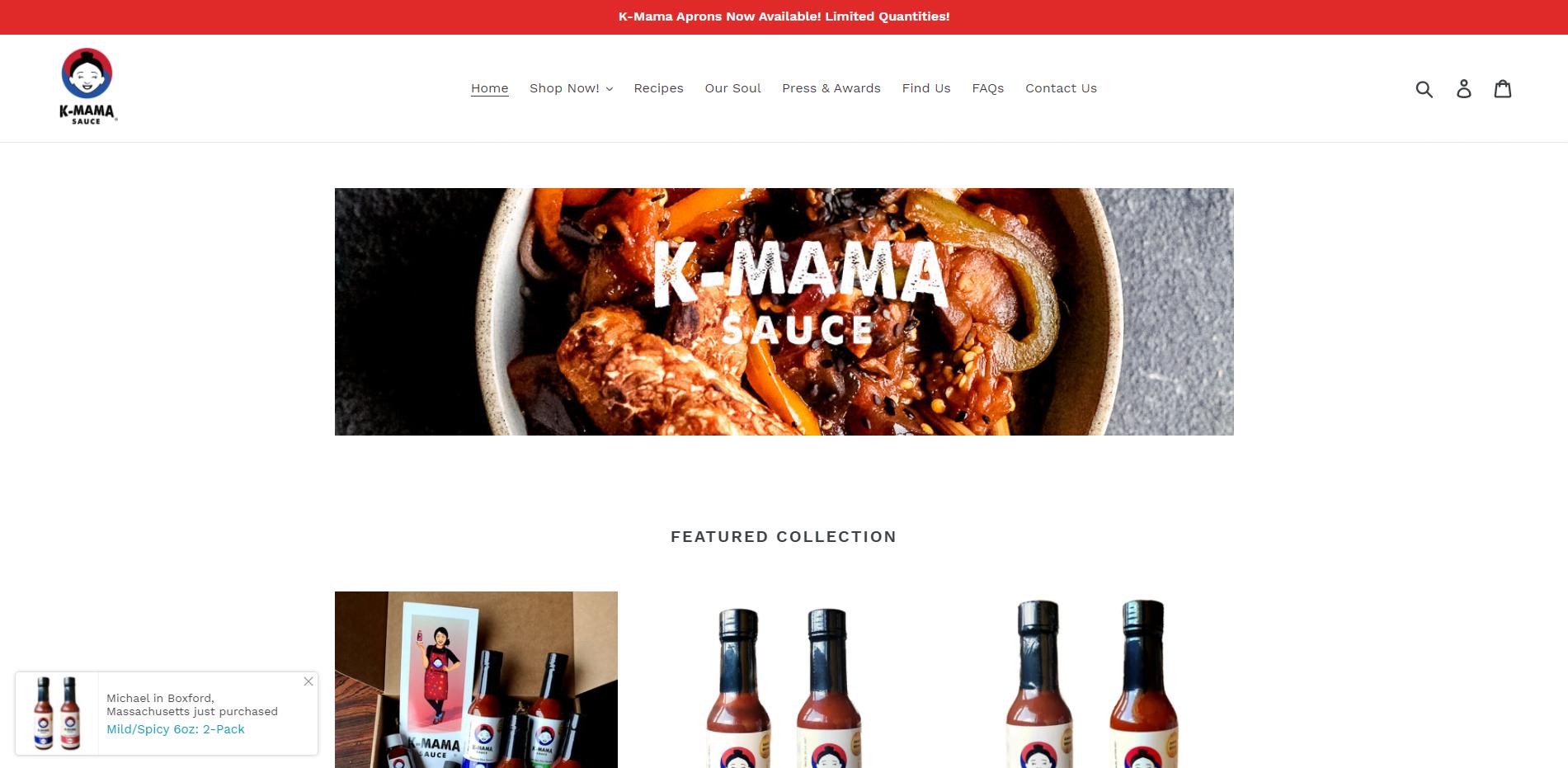Shopify Web Design K-Mama Sauce